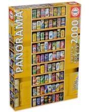 Панорамен пъзел Educa от 2000 части - Рафтове с кенчета -1