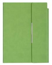 Кожен тефтер с магнитен капак Velvet А5 - Светлозелен
