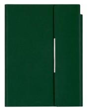Кожен тефтер с магнитен капак Velvet А5 - Тъмнозелен
