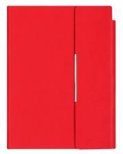 Кожен тефтер с магнитен капак Velvet А5 - Червен -1