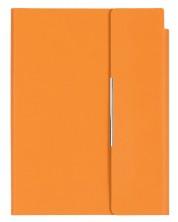 Кожен тефтер с магнитен капак Velvet А5 - Оранжев -1