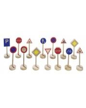 Дървени аксесоари за игра Goki - Пътни знаци, комплект