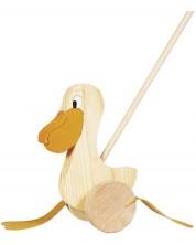 Дървена играчка за бутане Goki - Пеликан -1