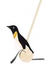 Дървена играчка за бутане Goki - Пингвин -1