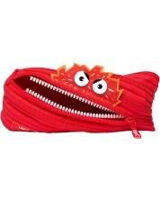 Ученически несесер Zipit - Говорещо чудовище, среден, червен