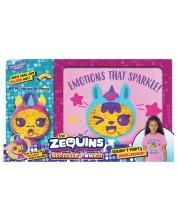 Комплект тениска с животинче Zequins - Sparkle Power с личице от пайети