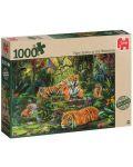 Пъзел Jumbo от 1000 части - Семейство тигри под водопада - 1t