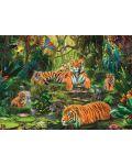 Пъзел Jumbo от 1000 части - Семейство тигри под водопада - 2t