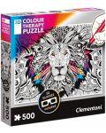Пъзел за оцветяване Clementoni от 500 части - Лъв, с 3D очила - 1t
