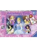 Пъзел Ravensburger от 100 XXL части - Очарователни принцеси, с книжка за оцветяване - 1t