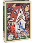 Пъзел Cobble Hill от 1000 части - Зимна къщичка за птици, Грег Джордано - 1t
