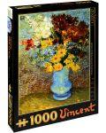 Пъзел D-Toys от 1000 части – Цветя в синя ваза, Винсент ван Гог - 1t