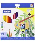 Комплект цветни моливи Milan - Шестоъгълни, 24 цвята - 1t