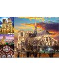 Пъзел Educa от 1000 части - Катедралата Нотр Дам в Париж, колаж - 2t