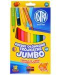 Триъгълни моливи Astra - Джъмбо, 12 цвята, с острилка - 1t