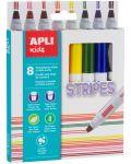 Комплект флумастери Apli - Двойна линия, 8 цвята - 1t