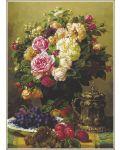 Пъзел Gold Puzzle от 1000 части - Рози и чиния с грозде и сливи - 1t