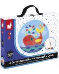 Творчески комплект Janod - Подводен свят, карти с акварели - 1t