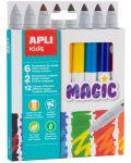 Комплект флумастери Apli - Магически, 8 броя, 12 цвята - 1t
