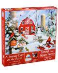 Пъзел SunsOut от 1000 части - Снежен ден във фермата, Лори Шори - 1t