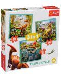 Пъзел Trefl 3 в 1 - Динозавърски свят - 1t