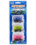 Комплект 3 автобуса - Розов, син, зелен - 1t