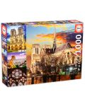 Пъзел Educa от 1000 части - Катедралата Нотр Дам в Париж, колаж - 1t