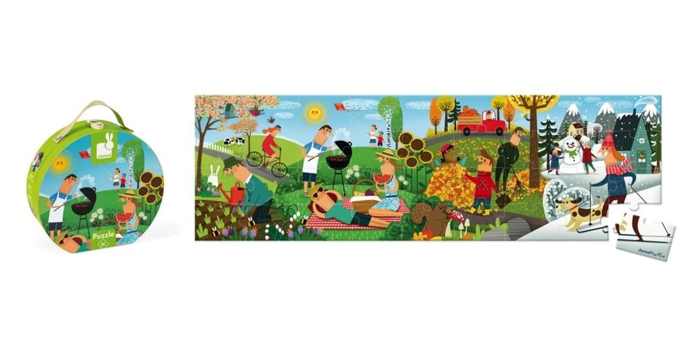 Детски панорамен пъзели Janod - Четирите сезона, в куфар
