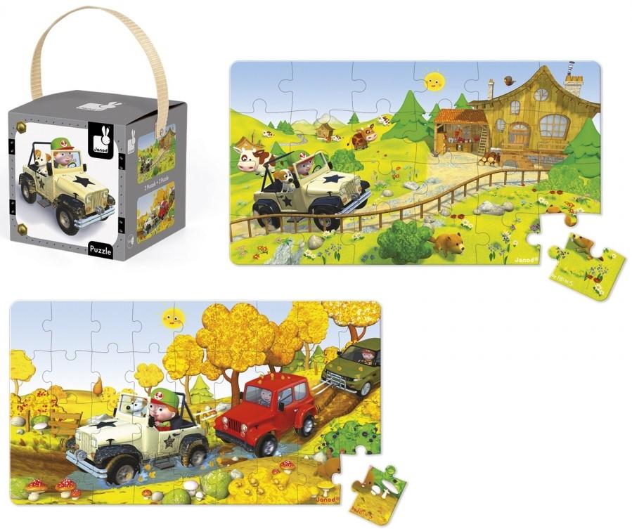 Детски пъзел Janod Lovely Puzzles - Джак и неговия джип