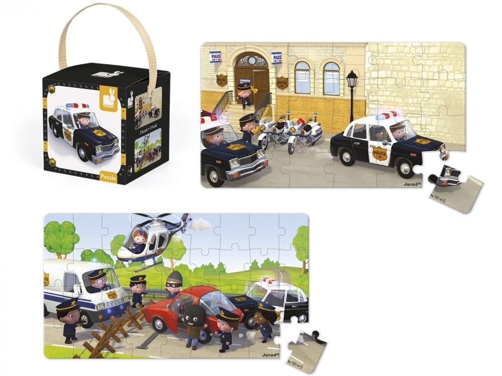 Детски пъзел Janod Lovely Puzzles - Полицейската кола на Брайс