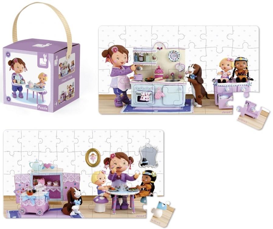 Детски пъзел Janod Lovely Puzzles - Лола си играе на чаено парти