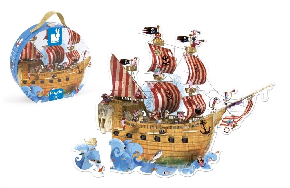 Детски гигантски пъзел за под Janod - Пиратски кораб, в куфар
