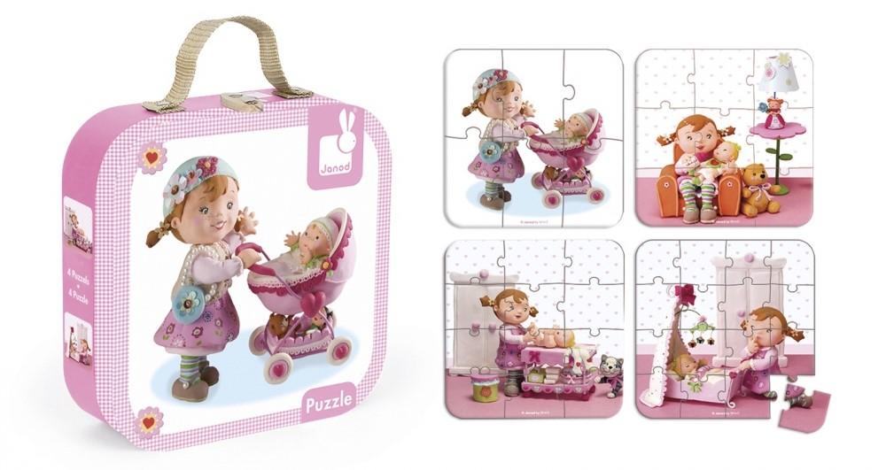 Комплект пъзели Janod - Лилу играе с кукли
