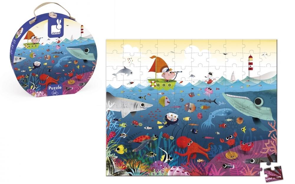 Детски пъзел Janod - Подводен свят, в куфар