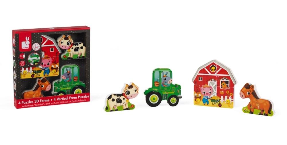 Комплект детски вертикални пъзели Janod - Ферма, 4 броя