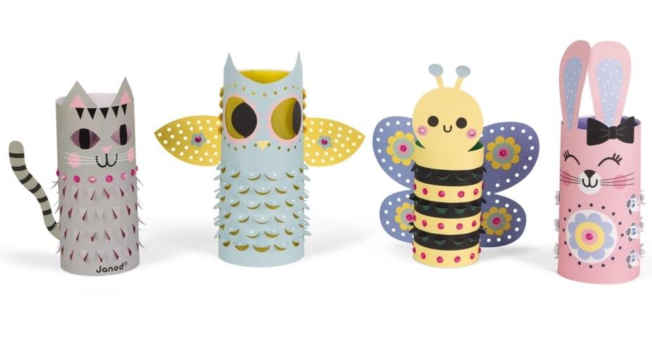 Творчески комплект Janod - Хартиени фенери, с животни
