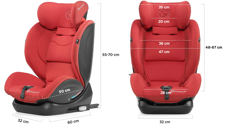 Столче за кола KinderKraft My Way размери