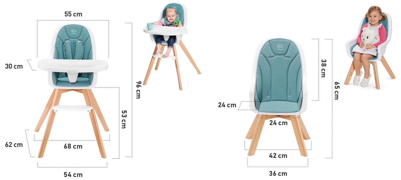 Столче за хранене KinderKraft Tixi размери