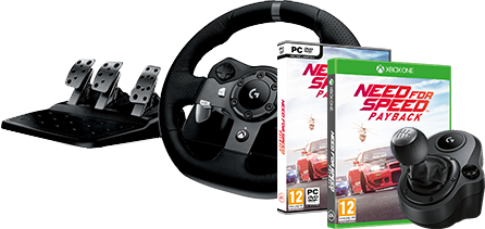 Logitech G920 Driving Force + Logitech Driving Force Shifter & Need for Speed Payback (PC),(Xbox One)